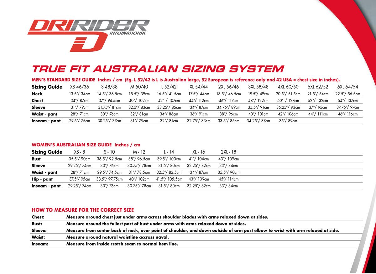 Dririder Size Guide