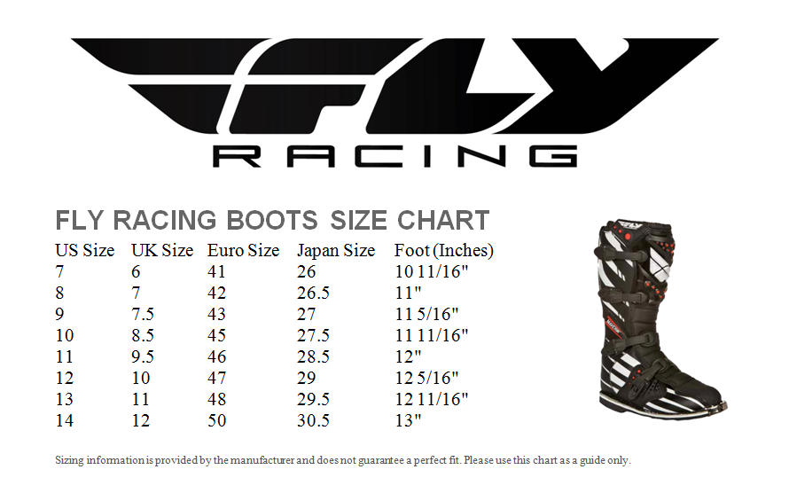Fly Boot Size Guide