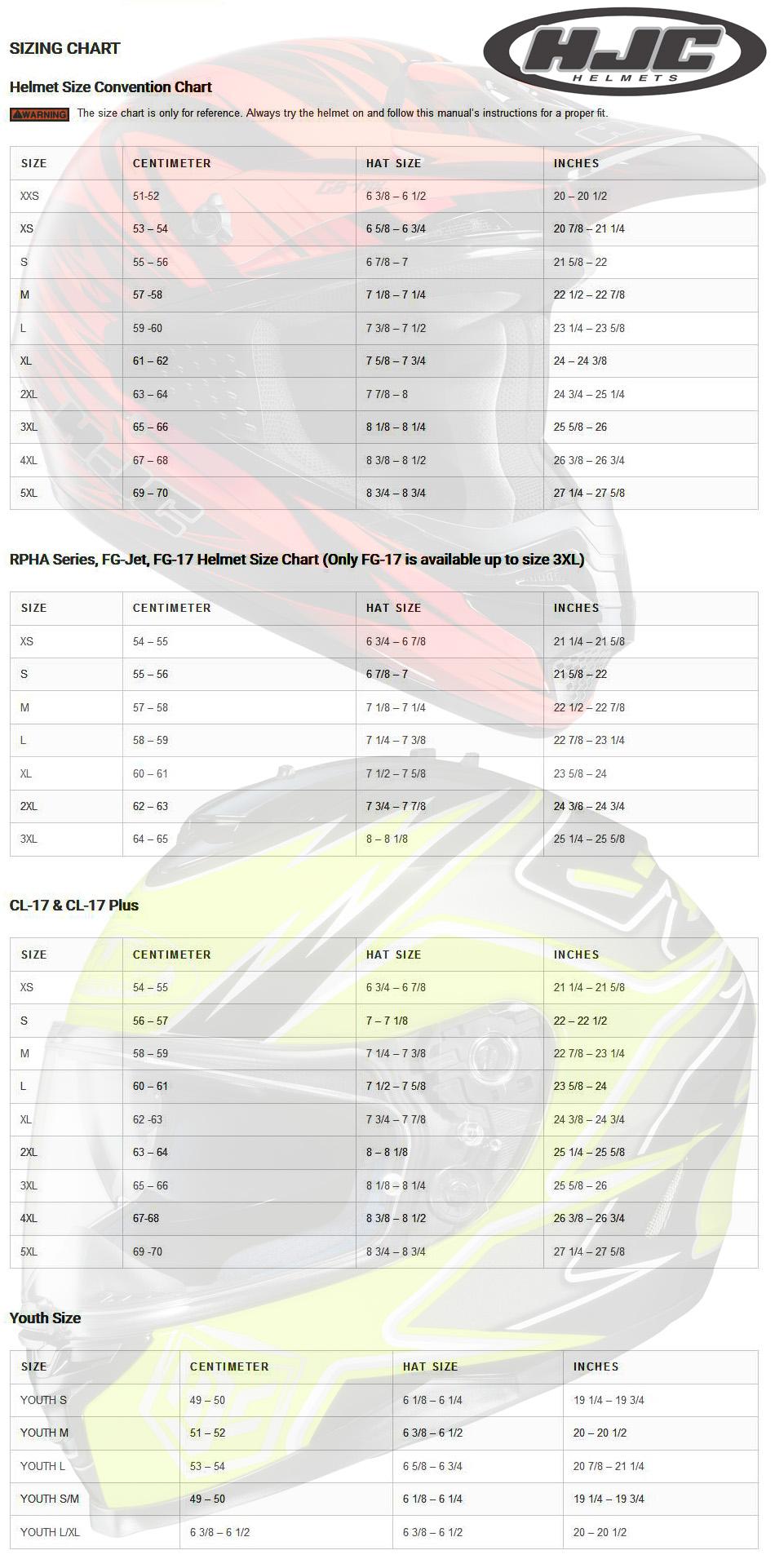 HJC Helmet Size Guide
