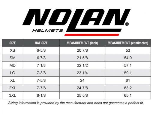 Nolan Sizing Chart