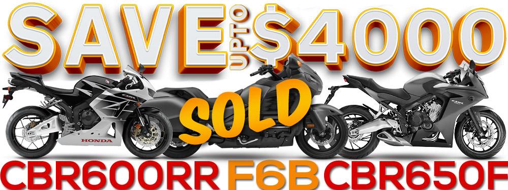 Save $4000 on selected Honda motorcycles