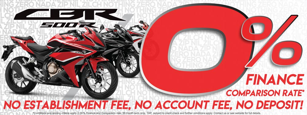 Zero Percent Finance on New Honda CBR500RA